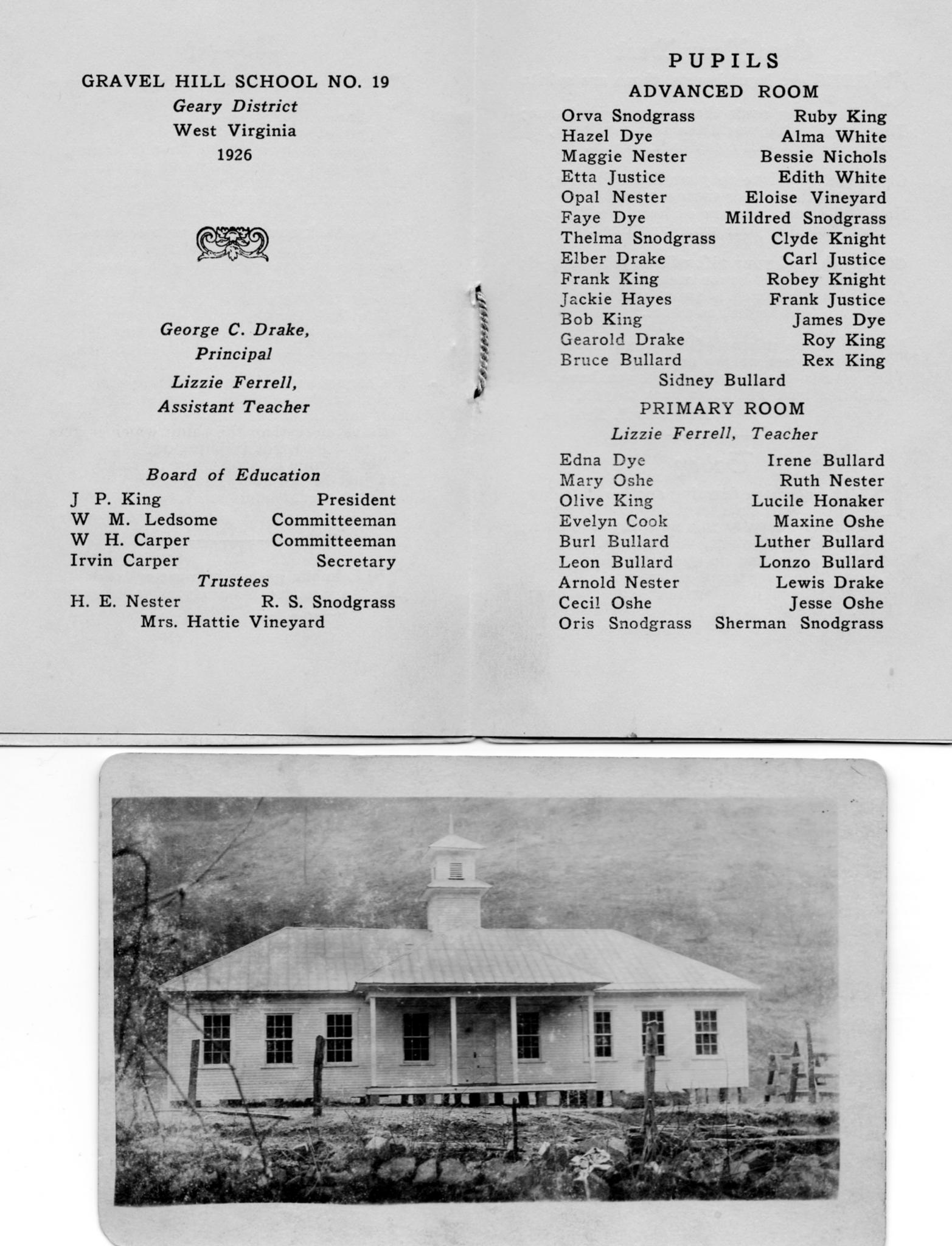 Gravel Hill School, Geary District, Roane County, WV