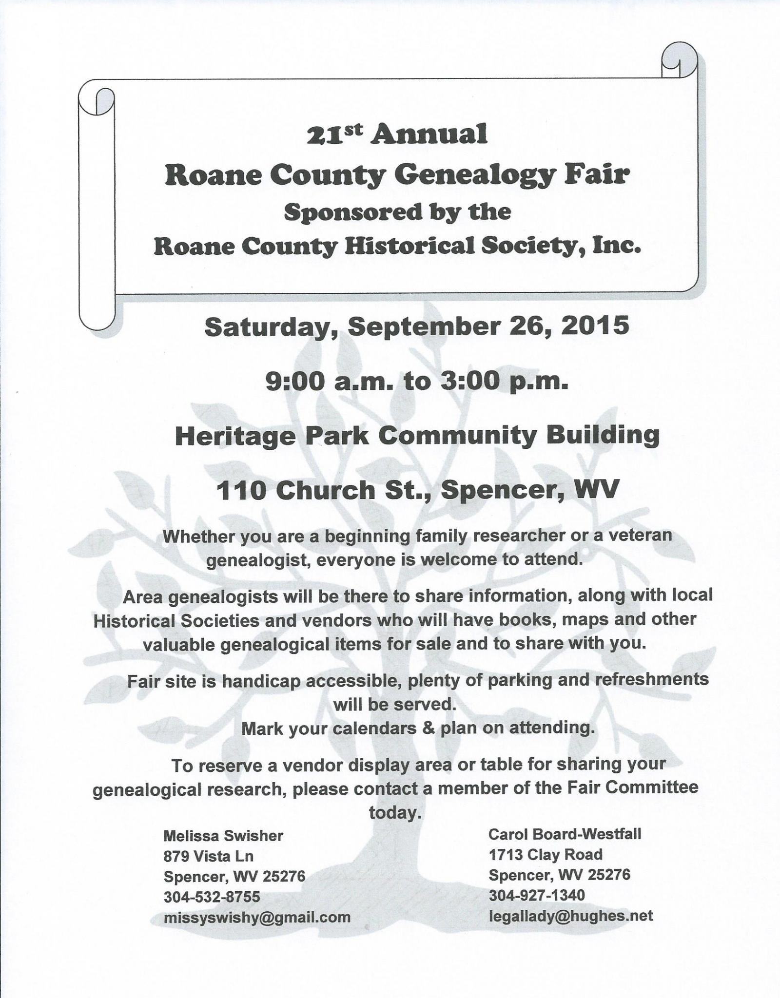 21st Annual Genealogical Fair