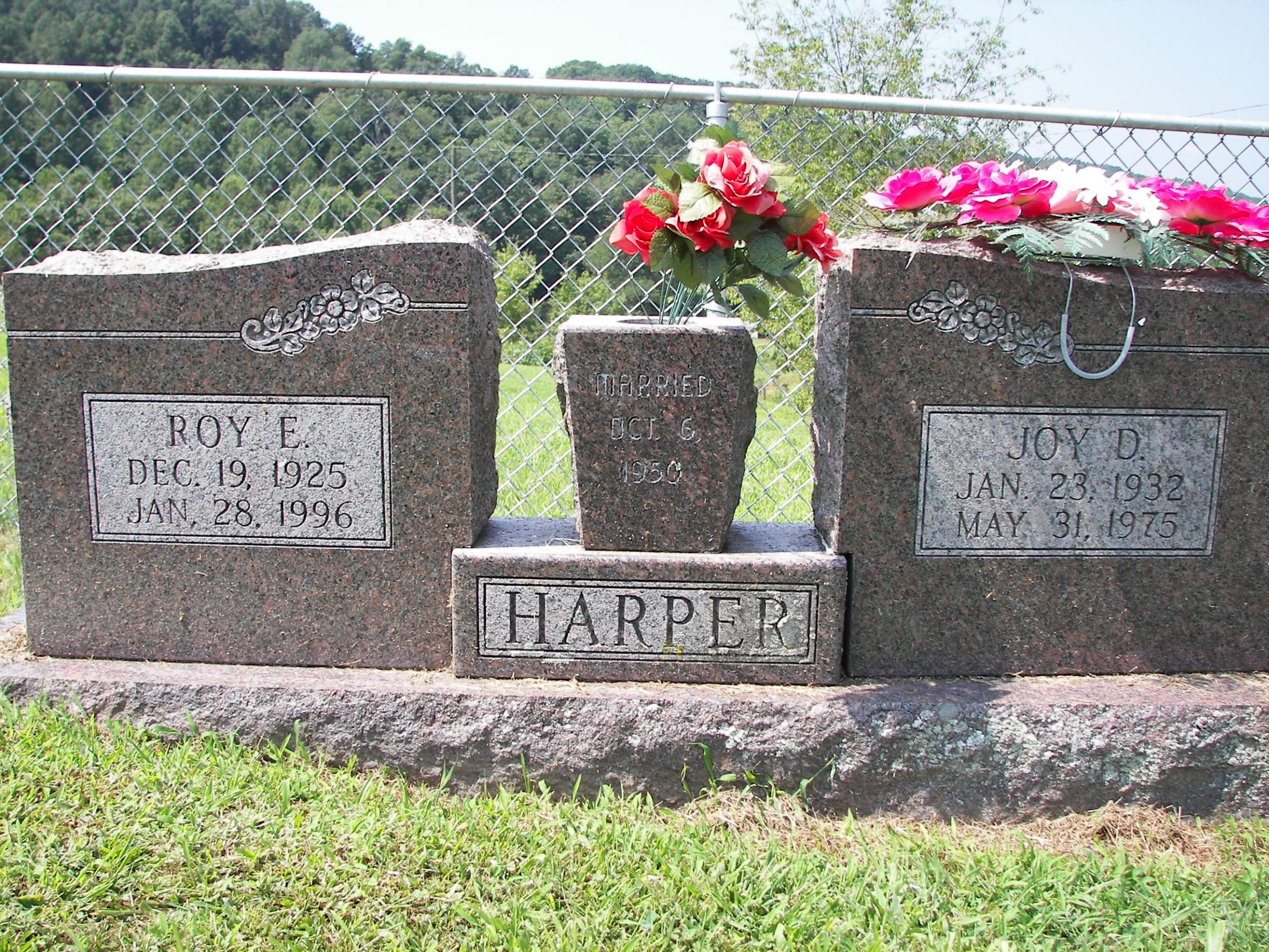 Roy and Joy Harper grave marker