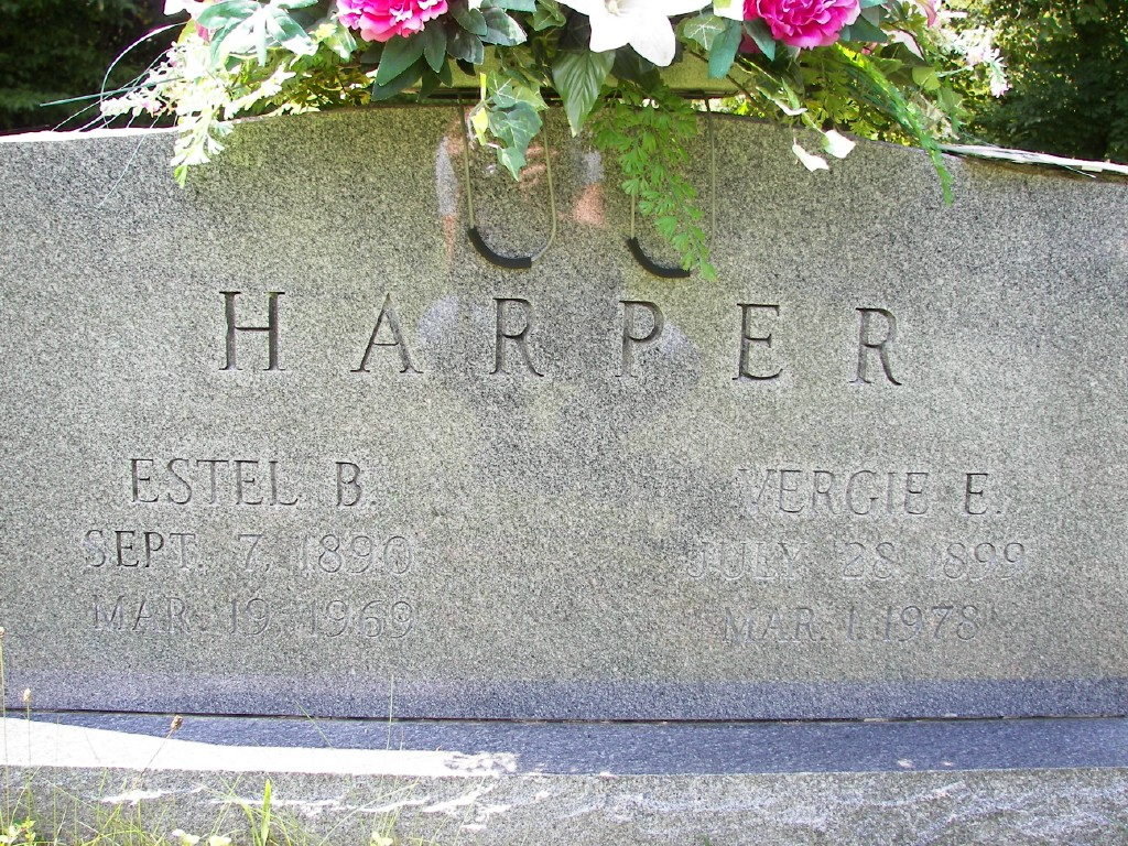 Estel B. and Vergie Phillips Harper grave marker